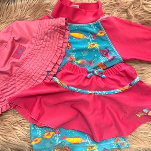 UV Skinz | Bathing Swim Suit + Hat Bundle -Size 3T